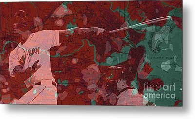 Red Sox Baseball Player On Boston Harbor Map Metal Print by Pablo Franchi