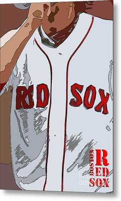 Red Sox Baseball Team White And Red Metal Print