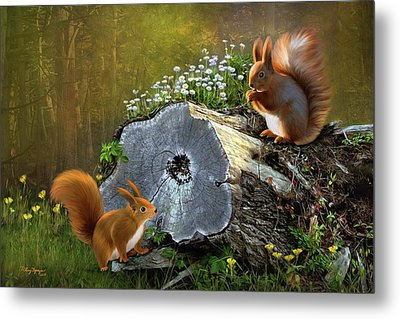 Metal Print featuring the digital art Red Squirrels by Thanh Thuy Nguyen