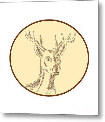 Red Stag Deer Head Circle Etching Metal Print by Aloysius Patrimonio