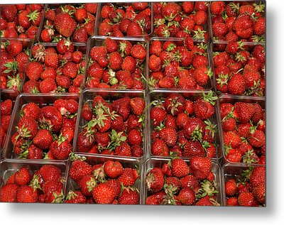 Union Square Market Red Strawberries Metal Print by Diane Lent