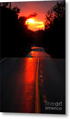 Metal Print featuring the photograph Red Street by Lila Fisher-Wenzel