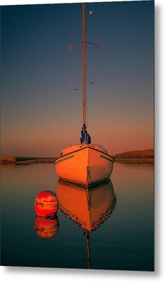 Red Sunrise Reflections On Sailboat Metal Print by Dapixara Art