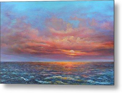 Red Sunset At Sea Metal Print