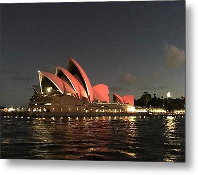 Red Sydney Opera House Metal Print by Sandy Taylor