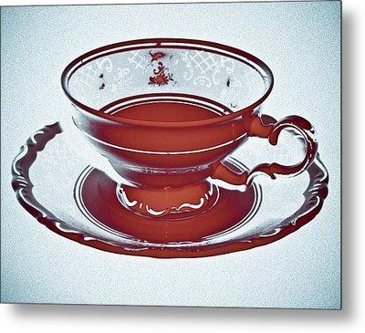 Red Tea Cup Metal Print by Frank Tschakert