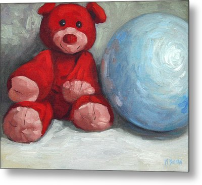 Red Teddy And A Blue Ball Metal Print by William Noonan