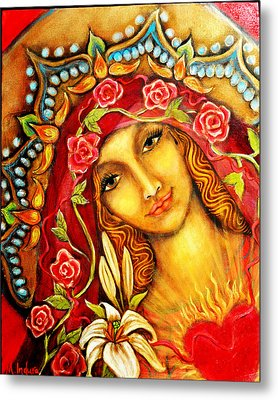 Red Thread Madonna Metal Print by Molly Indura