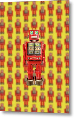 Metal Print featuring the photograph Red Tin Toy Robot Pattern by YoPedro