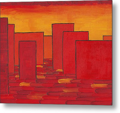 Red Town P1 Metal Print by Manuel Sueess