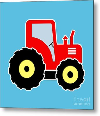 Red Toy Tractor Metal Print by Gaspar Avila