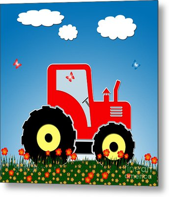 Red Tractor In A Field Metal Print by Gaspar Avila