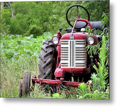 Red Tractor  Metal Print by Janice Drew