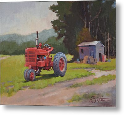 Red Tractor Metal Print by Todd Baxter