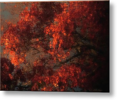 Red Tree Scene Metal Print