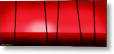 Red Tropical Abstract Sunset Metal Print by Gina De Gorna