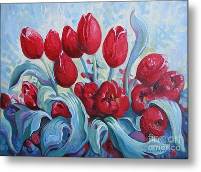 Metal Print featuring the painting Red Tulips by Elena Oleniuc