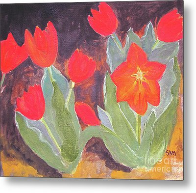 Metal Print featuring the painting Red Tulips by Sandy McIntire