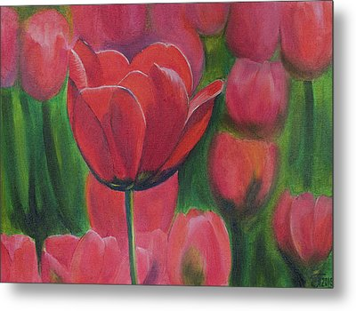 Red Tulips. Tulips In The Field. Red Flowers. Oil Paints. Metal Print by Elena Pavlova