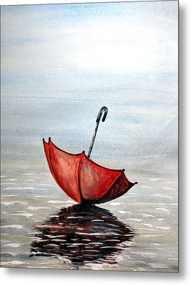 Red Umbrella Metal Print by Edwin Alverio