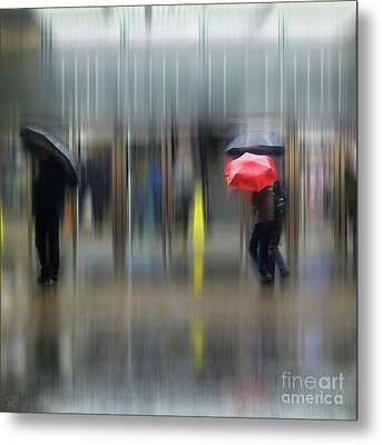 Metal Print featuring the photograph Red Umbrella by LemonArt Photography