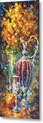 Red Vase Metal Print by Leonid Afremov