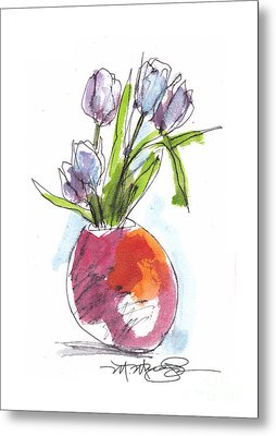 Red Vase With Tulips Metal Print