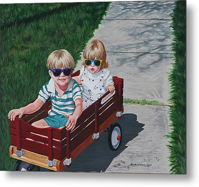 Red Wagon Metal Print by Penny Birch-Williams