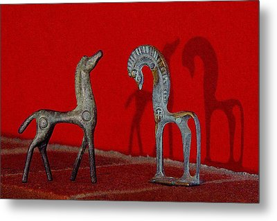 Metal Print featuring the digital art Red Wall Horse Statues by Jana Russon