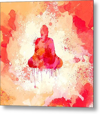 Red Watercolor Buddha Paining Metal Print by Thubakabra