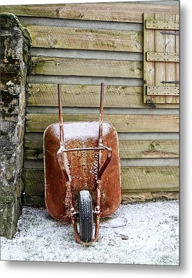 Red Wheelbarrow Metal Print by Susan Leggett