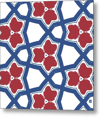 Red White And Blue Floral Motif- Art By Linda Woods Metal Print