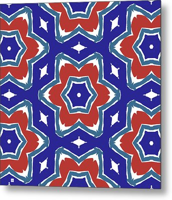 Red White And Blue Star Flowers 1- Pattern Art By Linda Woods Metal Print