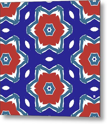 Red White And Blue Star Flowers 2 - Pattern Art By Linda Woods Metal Print