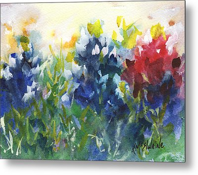 Red White And Bluebonnets Watercolor Painting By Kmcelwaine Metal Print by Kathleen McElwaine