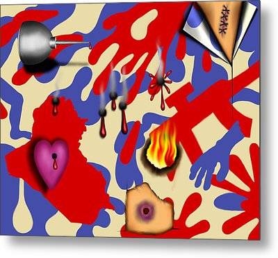 Red White And Bruised II Metal Print