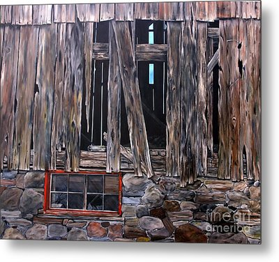 Metal Print featuring the painting Red Window by Anna-maria Dickinson