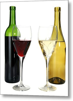 Red Wine And White Wine In Cut Crystal Wine Glasses  Metal Print by Michael Ledray