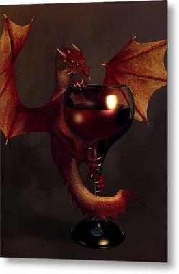Red Wine Dragon Metal Print by Daniel Eskridge