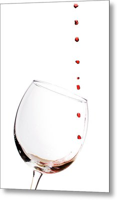 Red Wine Drops Into Wineglass Metal Print by Dustin K Ryan
