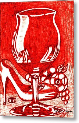 Red Wine Metal Print by Richard Heyman