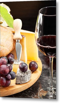 Red Wine With Wine Grapes Metal Print by Wolfgang Steiner