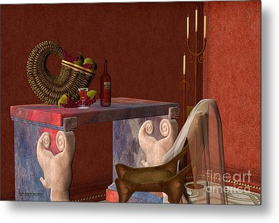 Red Wineglass Metal Print by Corey Ford