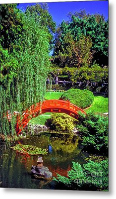 Red Wooden Arch Bridge Iconic Metal Print by David Zanzinger