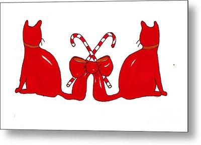 Red Xmas Ribbon Cats Metal Print
