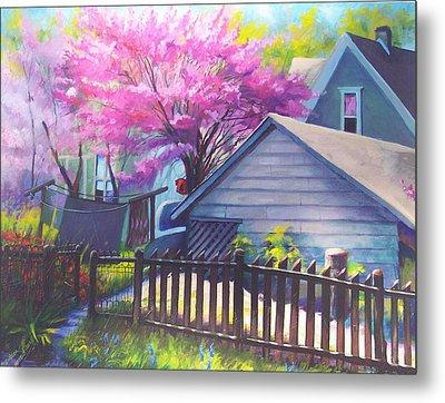 Redbud Tree In Oldtown Springtime Metal Print by Bobbi Baltzer-Jacobo