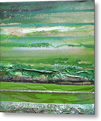 Redesdale Rhythms And Textures Series 3 Green And Gold Metal Print by Mike   Bell