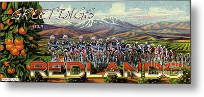 Redlands Greetings Metal Print by Linda Weinstock
