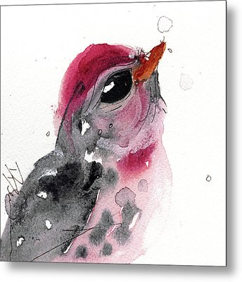 Metal Print featuring the painting Redpole by Dawn Derman