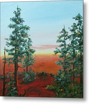 Metal Print featuring the painting Redwood Overlook by Roseann Gilmore